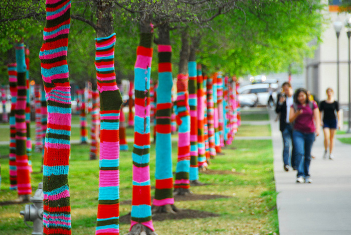 Christmas Yarn Bombing.Have You Seen A Yarn Bomb Elements At Home